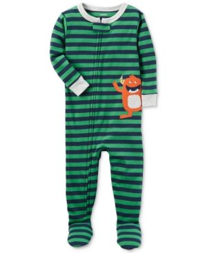 6f8f347fd Carter's 1-Pc. Striped Monster Footed Pajamas, Baby Boys (0-24 months) -  Green 12 months