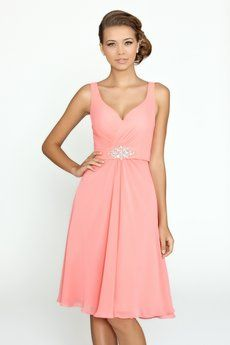 45db550402d Chiffon knee length A-line bridesmaid dress with pleated asymmetrical  bodice. Available in floor