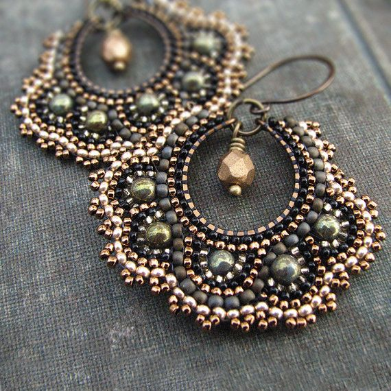 Bronze Mosaic Earrings Green Gold Hoop Earrings Brass Beaded
