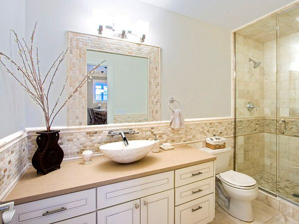 Bathroom. pictures of tiled bathrooms   Bathroom in beige tile  Part 1 in