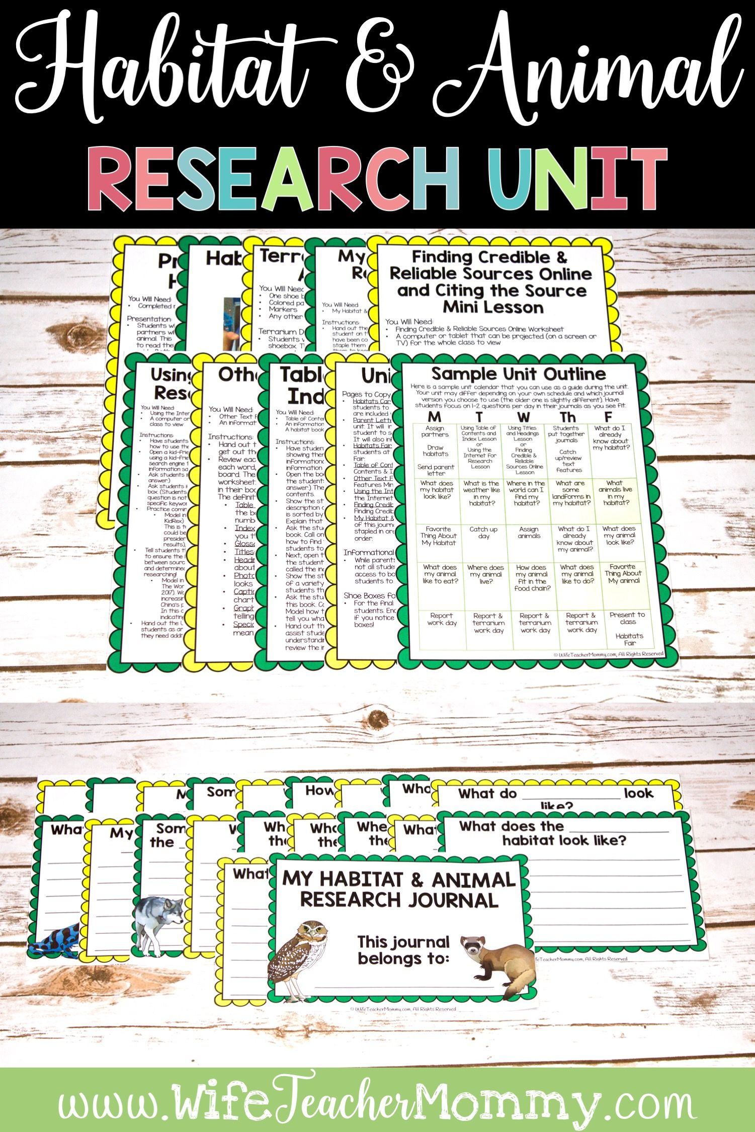 Animals And Habitats Research Unit Printable