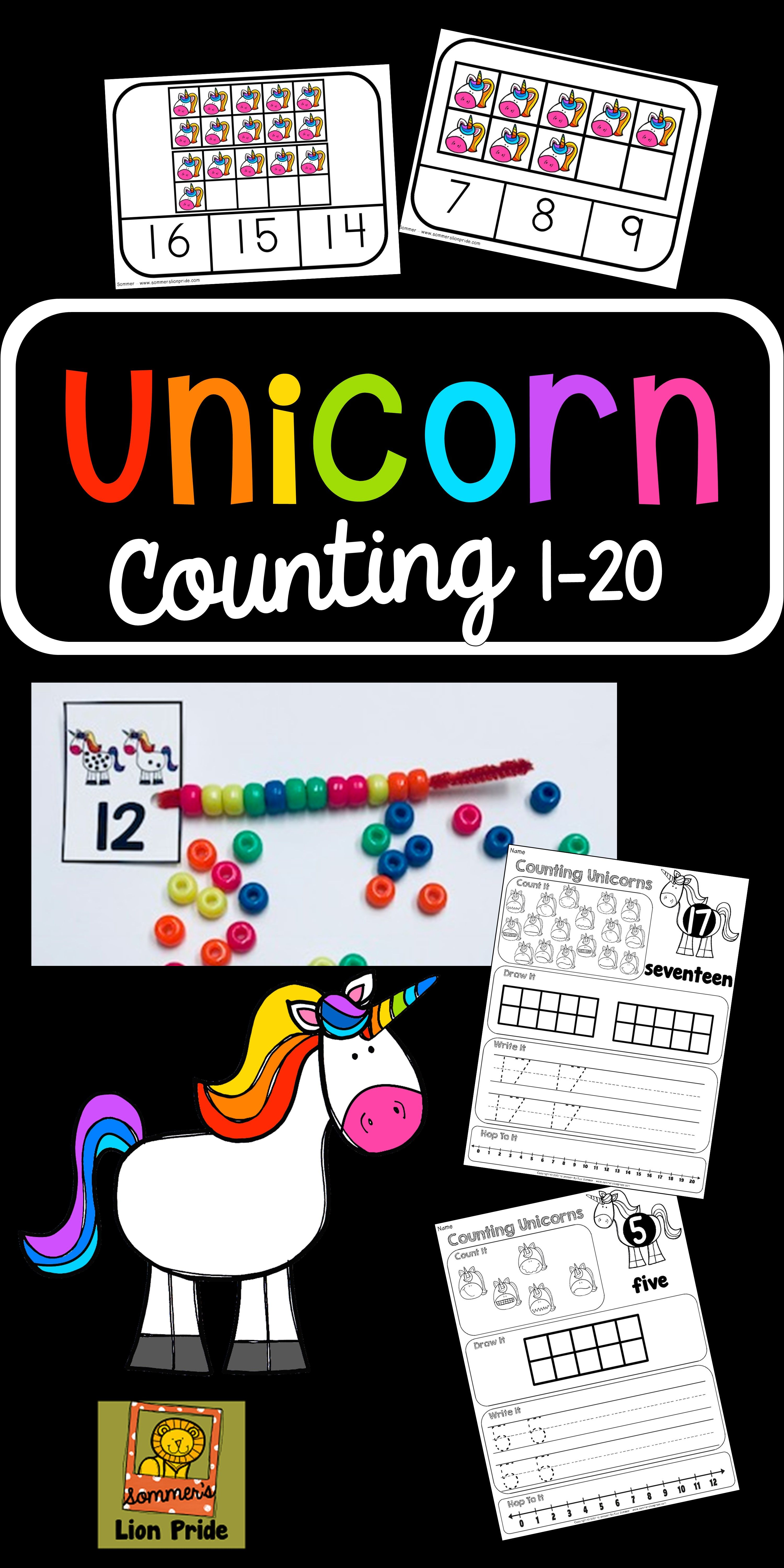 Counting 1 20 Unicorn Themed
