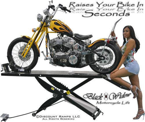 Black Widow Air Motorcycle Lift Table Hoist Drop Panel Wheel Chock Bw 1000a R Ebay Motorcycle Lift Table Motorcycle Hoist
