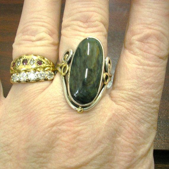 Handmade Ring Sterling Silver & 14K Gold Royal Velvet by HighArt, $168.00