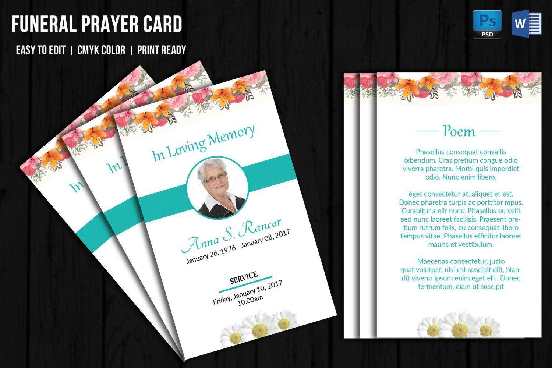Funeral Prayer Card Template Memorial Program Card Template