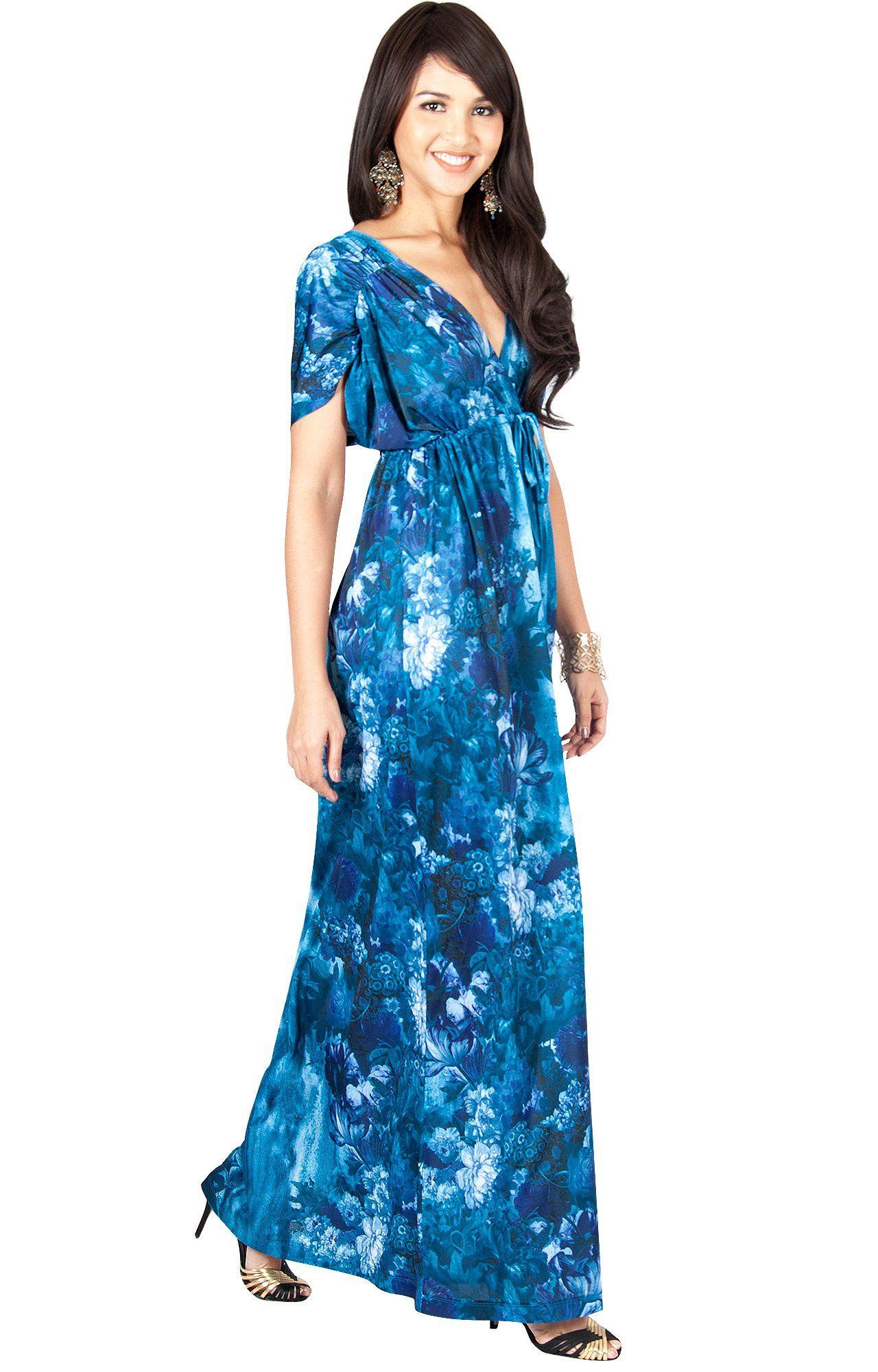 44481137649 KOH KOH Womens Long VNeck Short Kimono Sleeve Summer Flowy Casual Cute  Sundress Floral Print Vintage Evening Sexy Sundresses Gown Gowns Maxi Dress  Dresses ...