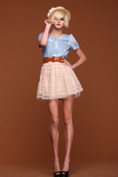 2012 Summer Apricot/Sapphire Blue Jean and Organza Princess Short Dress