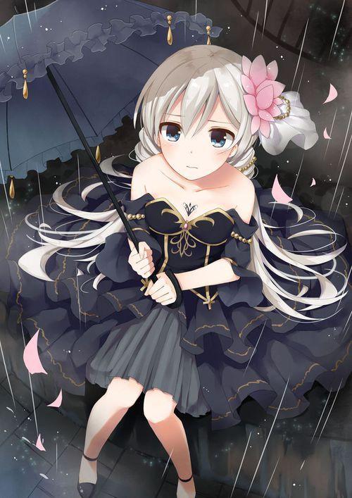 anime, anime girl, and rain imageの画像