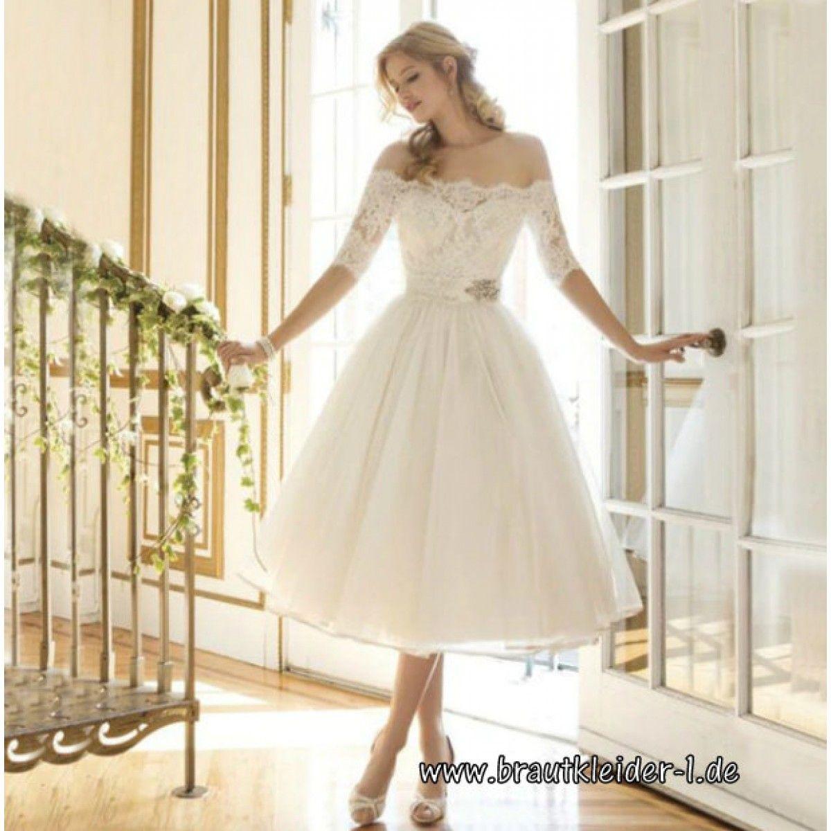 Schulterfreies Midi Kleid für den Standesamt in Weiß mit ...
