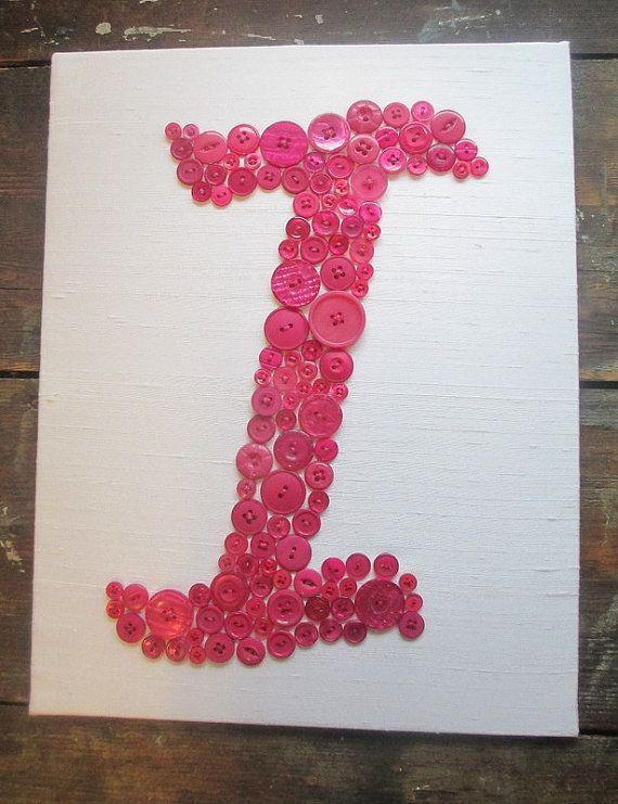 Hot Pink Button Letter Nursery Wall Art by letterperfectdesigns ...