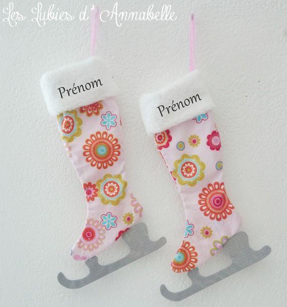 chaussette de no l ou patin glace tilda tissu girly. Black Bedroom Furniture Sets. Home Design Ideas
