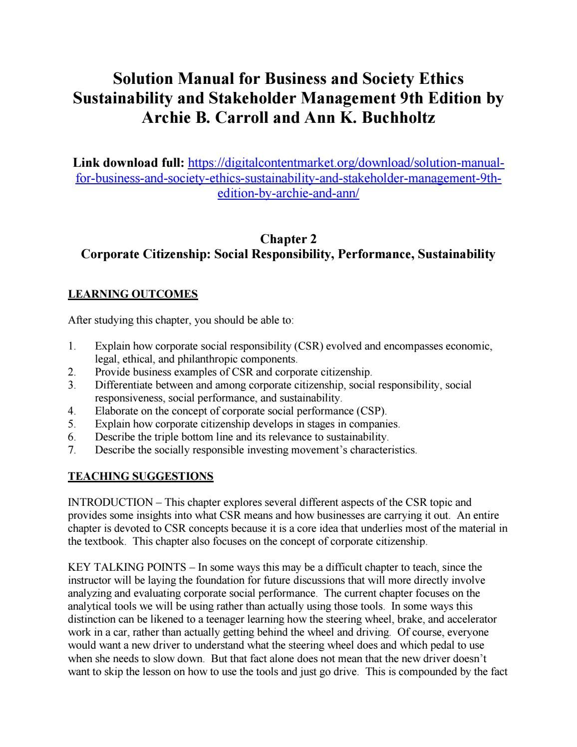 Download solution manual for business and society ethics sustainability and  stakeholder management 9