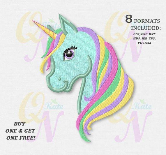 Bogo Free Rainbow Unicorn Applique Embroidery Design Rainbow Pony