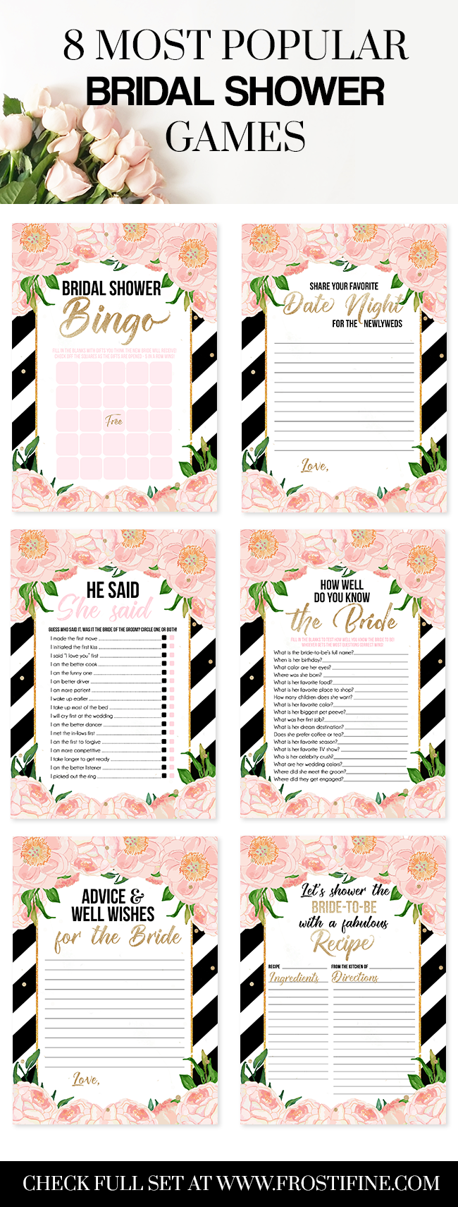 8 Most Popular Bridal Shower Games In One Set Ready For DIY Party Or Brunch Elegant And Chic Black White Stripes With Blush Pink Florals