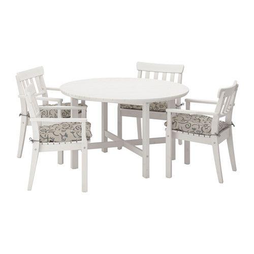 Ikea Eettafel 4 Stoelen.Ikea Angso Tafel 4 Leunstoelen Buiten Angso Wit Gelazuurd