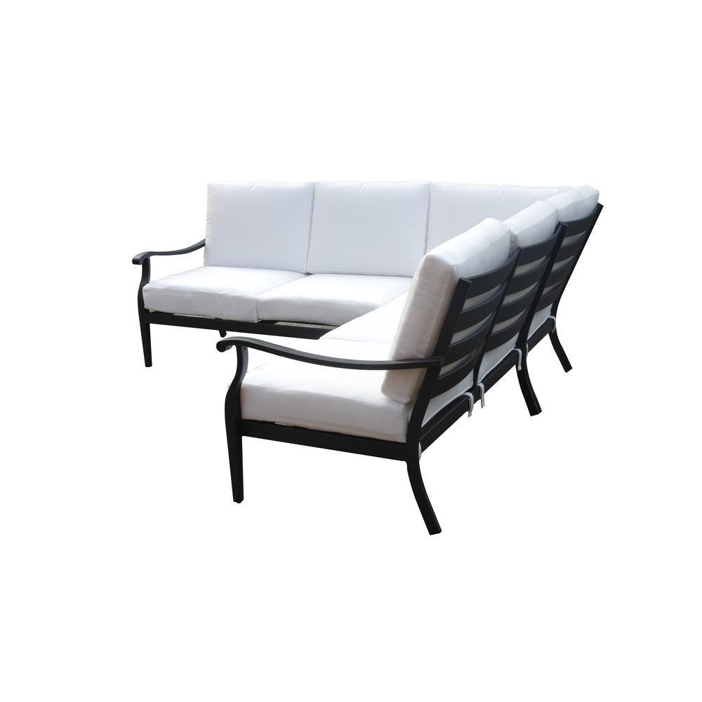outdoor sectional metal. Hampton Bay Riley 3-Piece Metal Outdoor Sectional Set With Cushion Inserts (Slipcovers Sold S