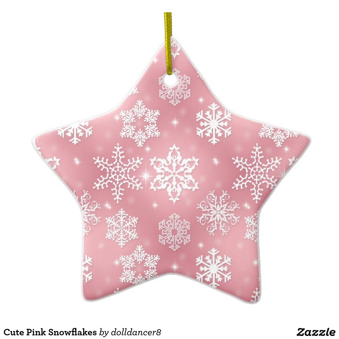 Cute Pink Snowflakes Ceramic Ornament   Zaz-press   Pinterest   Ornament