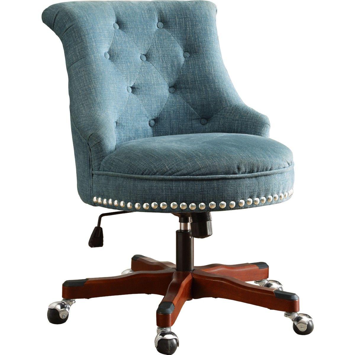 Linon 178403aqua01u Sinclair Office Chair Tufted Aqua Fabric Dark Walnut Wood Base