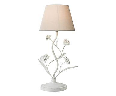 Lampada da tavolo in ferro bianco/ecru, 50x25 cm