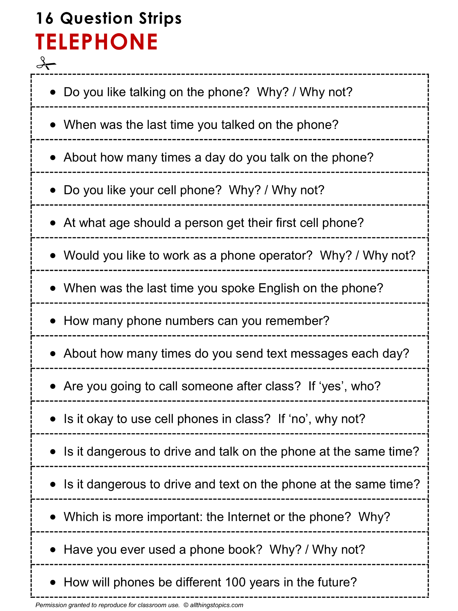 Discussion Practice, TELEPHONE, Speaking Practice, 16 Question ...