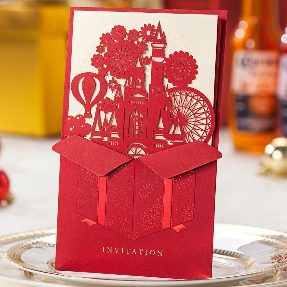 Red Wedding Castle Laser Cut Wedding Invitation Card with Free ...