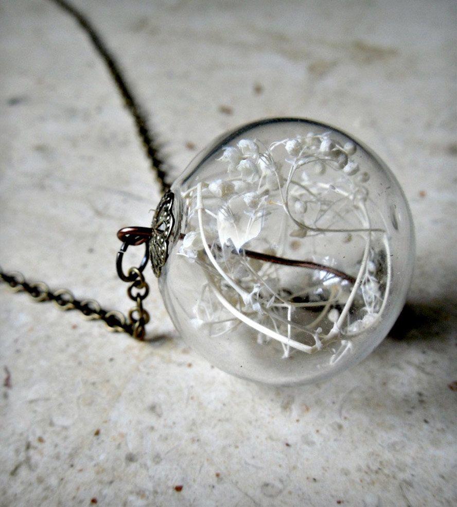 Glass Orb Dried Baby's Breath Terrarium Pendant