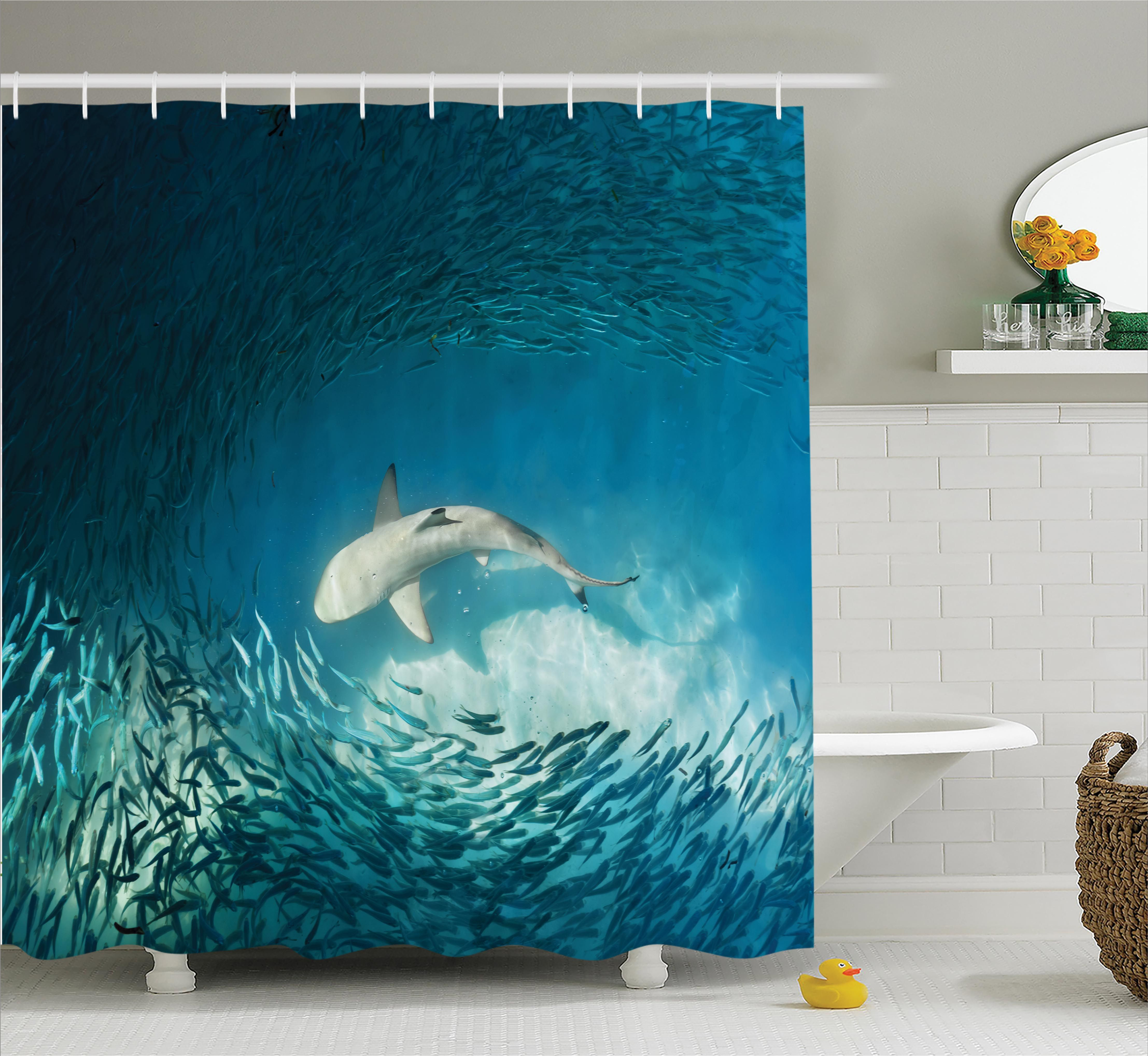 Fish Shower Curtain Set Shark and Small Fish In Ocean Wilderness