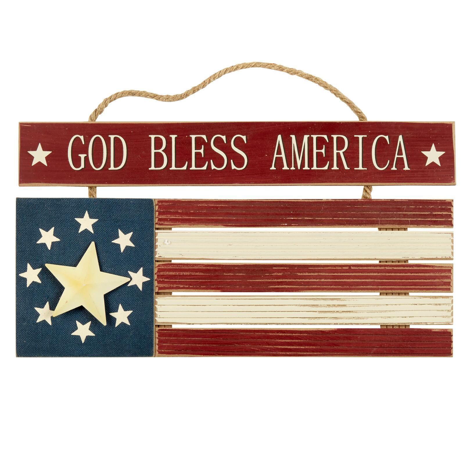 20 Wood God Bless America Flag Hanger Wood God Flag Christmas Tree Shop America Decor Hanger Christmas Tree