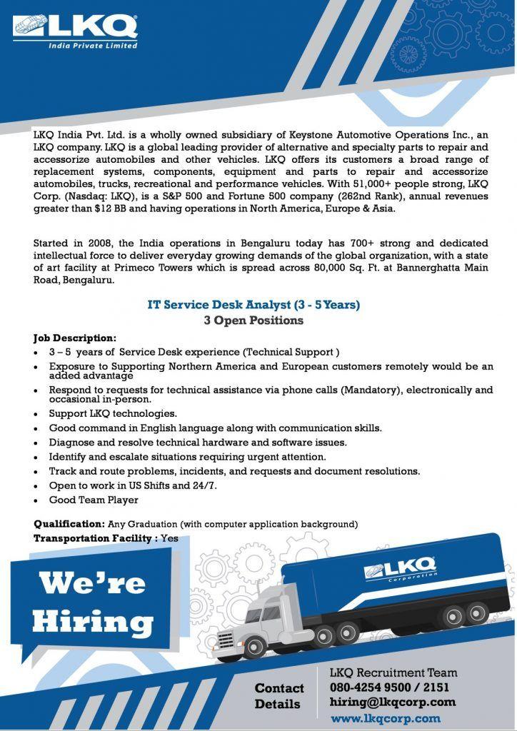 IT Service Desk Analyst Bangalore Job Openings in 2020
