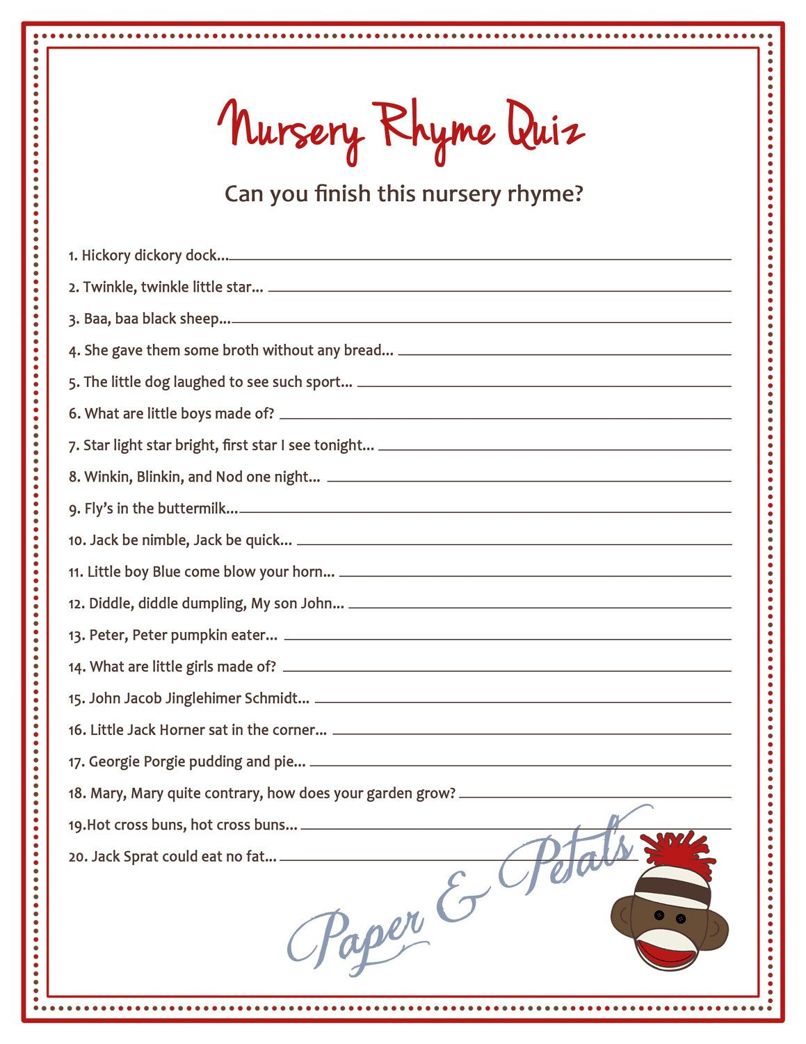 Superb Sock Monkey Inspired Baby Shower Nursery Rhyme Game  PRINTABLE