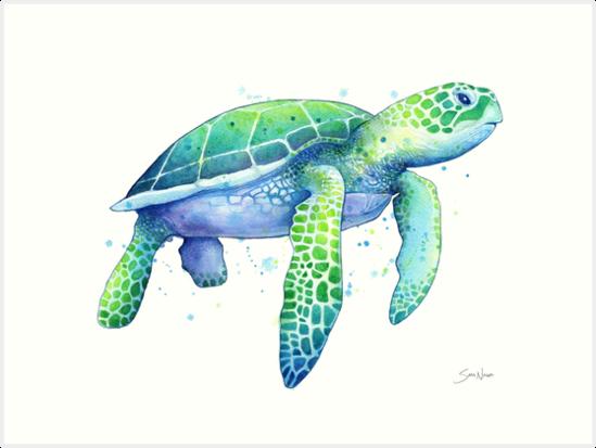 Green Sea Turtle Art Print By Samnagel Sea Turtle Painting Sea Turtle Art Turtle Painting