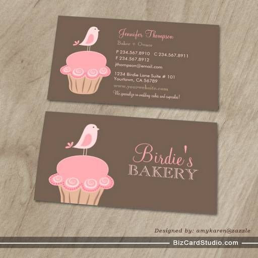 Bird and cupcake business cards
