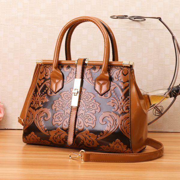 684af6ea48 High-quality Women PU Leather Retro Embroidery Handbag Tote Bag - NewChic  Mobile
