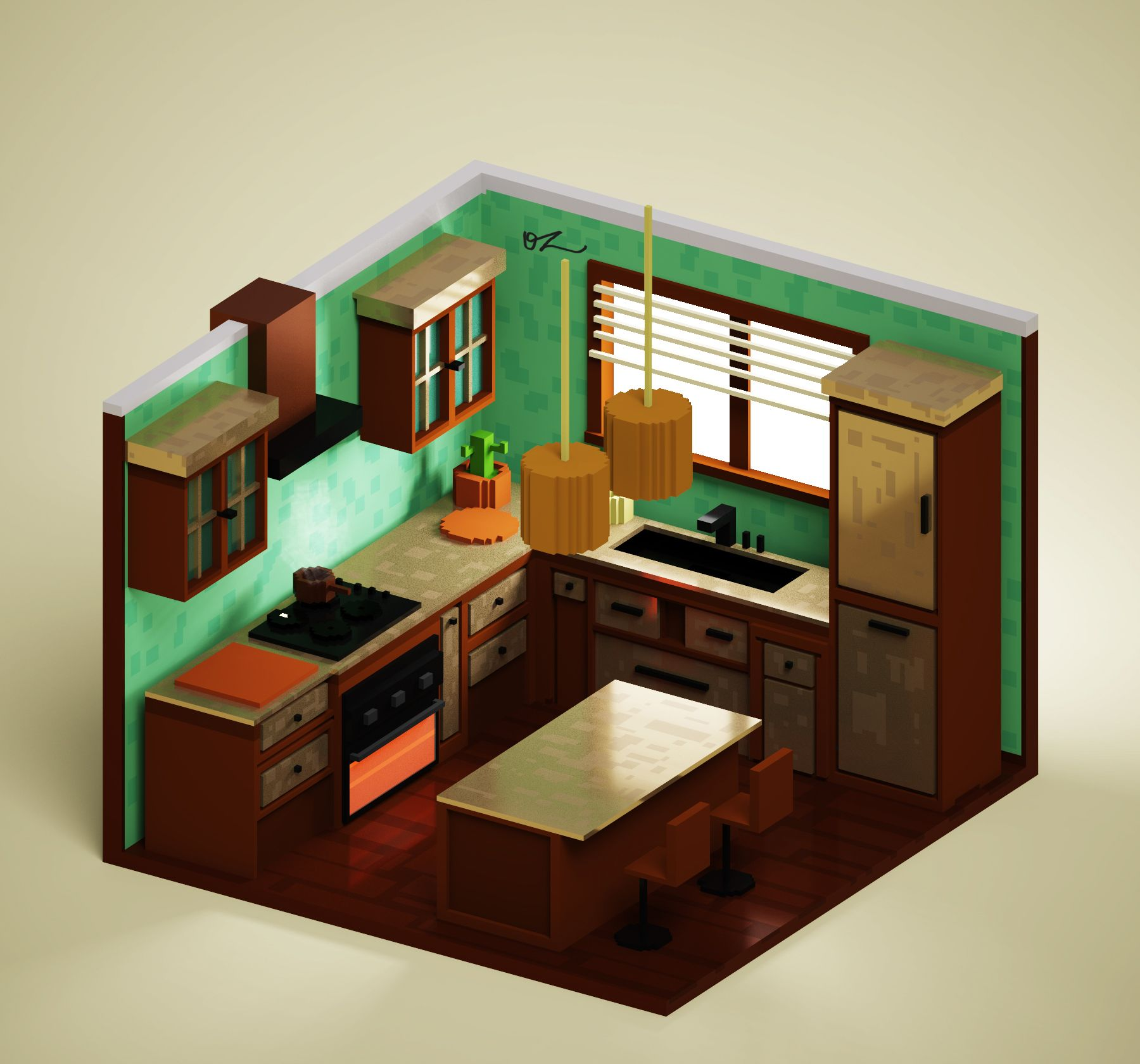 Kitchen Isometric Cozinha Feito No Magicavoxel Por Oz Rodrigues House Design Drawing Kitchen Visualizer Game Room Design