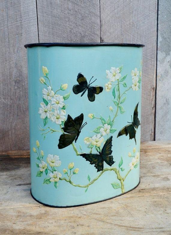 Aqua Butterfly Trash Can Weibro Waste Basket Metal Butterflies ... 1faeadc33d38