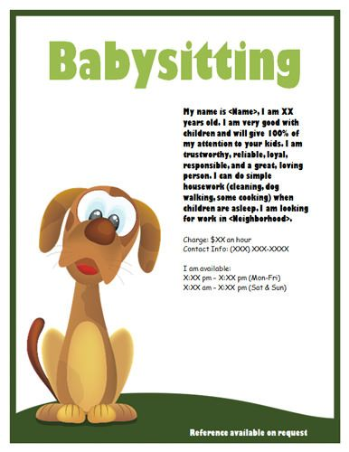 babysitter flyers template