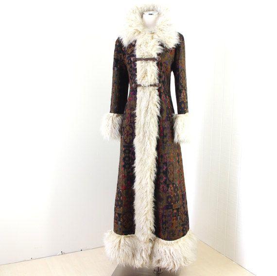 Vintage 1960 S Coat Rich Hippie Carpet Tapestry Mongolian Curly Fur Trimmed Long Duster Boho Coat Boho Coat 1960s Coat Fur Collar Jacket