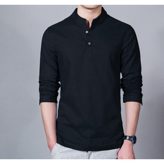 New Mens Casual Shirt Long Sleeve Slim Fit Plain Shirts Linen Button Shirts Tops