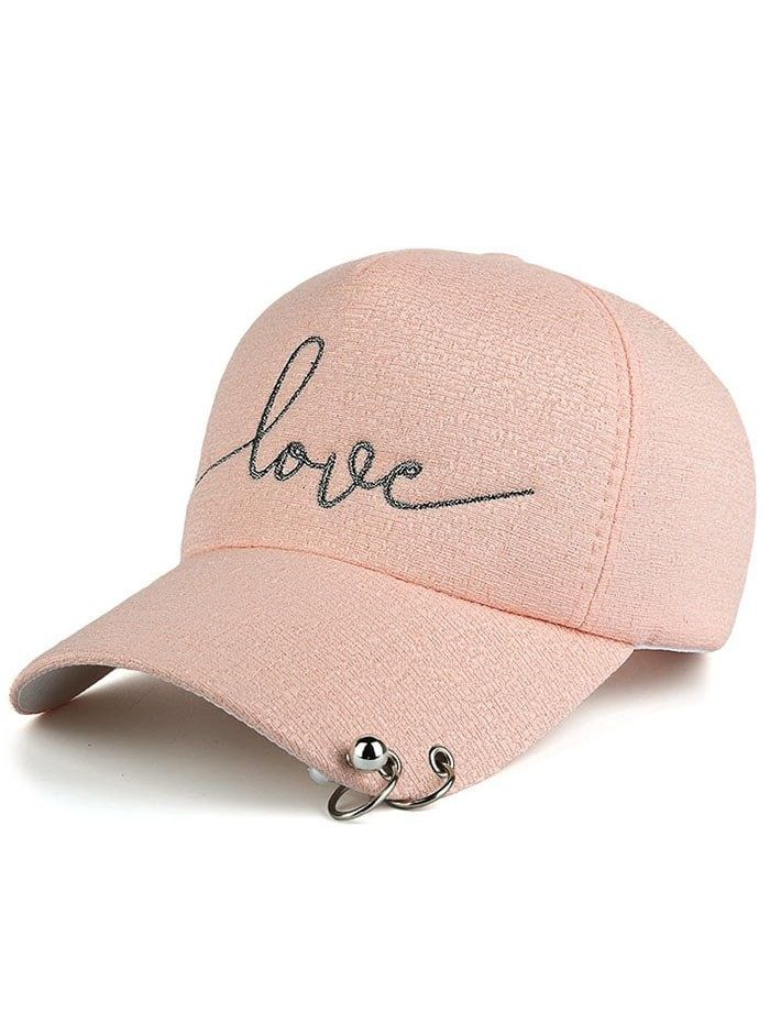 Letters Beads Metal Circle Embellished Baseball Hat - PINK ... 0afc930535e