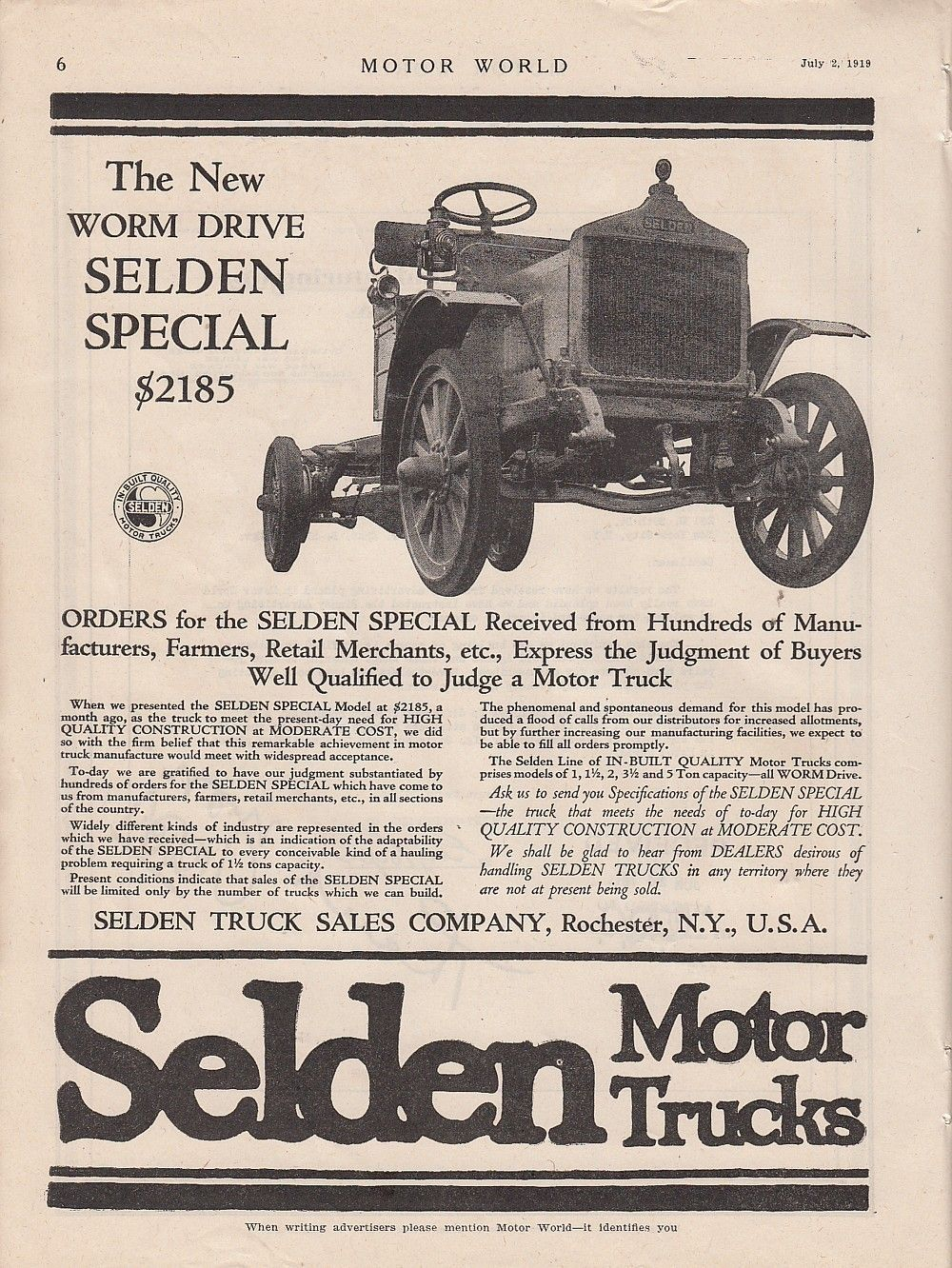 1919 Selden Motor Truck Co Rochester NY Ad Worm Drive Selden Special ...