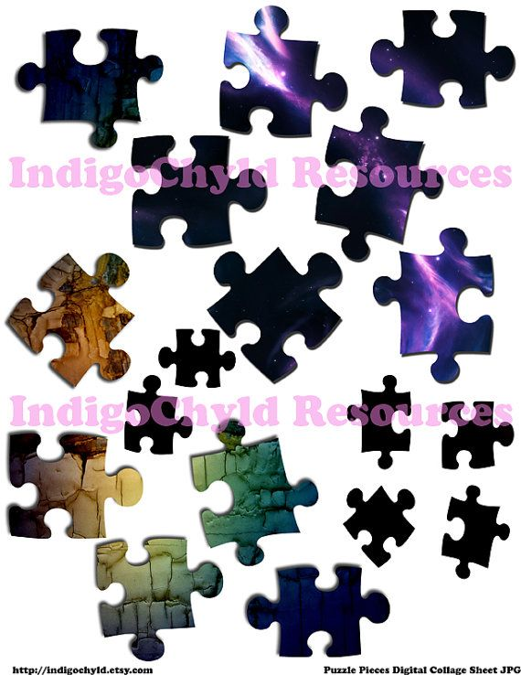 Puzzle Pieces Digital Collage Sheet JPG by indigochyld on Etsy, $2.00
