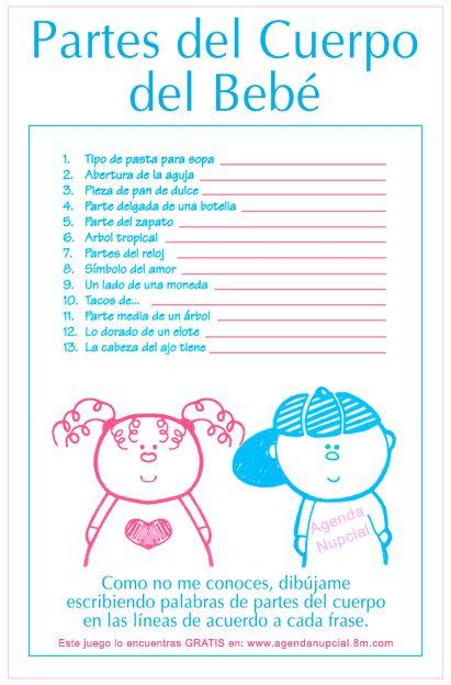 Juegos Para Baby Shower Mixto Modernos Juego De Ba Shower Partes Del