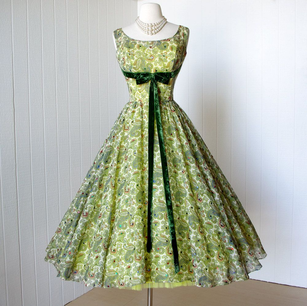 c834b1b8d02 gorgeous paisley voile SHELF-BUST TULLE crinoline sequins full skirt pin-up  party dress