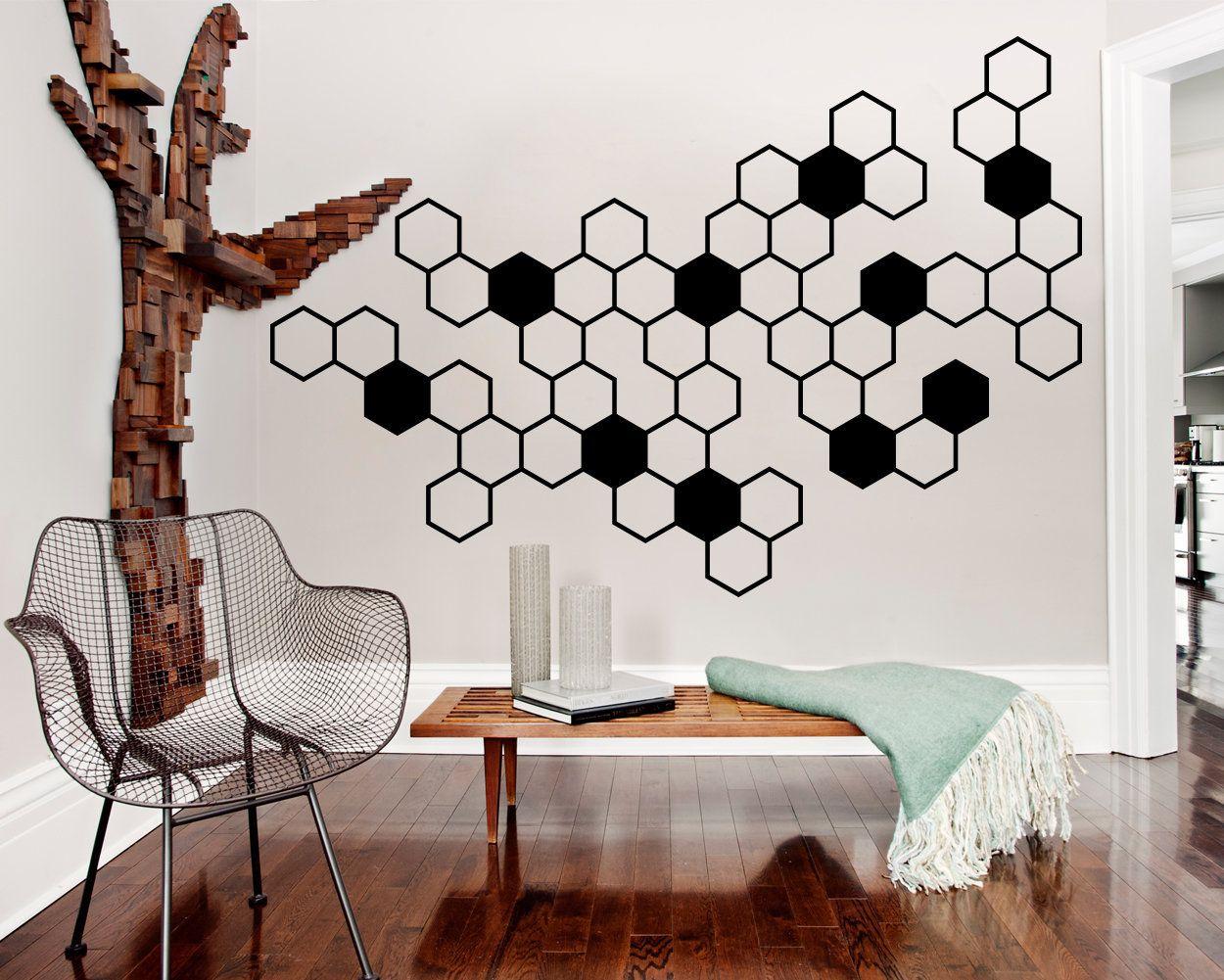 Honeycomb Wall Decals Hexagon Vinyl Wall Decals Geometric Etsy Vinyl Wall Decals Office Room Wall Colors Vinyl Wall Decals