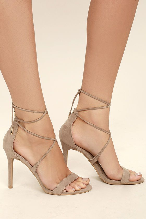 2bd8fa9a6f94 Top off your LBD with a choker and the Aimee Taupe Suede Lace-Up Heels!  These sexy single sole heels