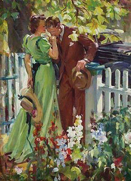 man kissing woman painting