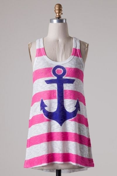 Sleeveless sublimation stripe Anchor print knit tank top PLEASE NOTE: This is a sublimation style therefore each piece will vary in print.