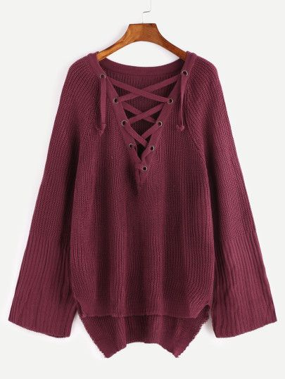 Burgundy Raglan Sleeve Eyelet Lace Up High Low Sweater  5e428acfa