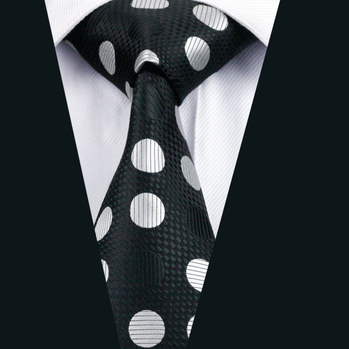 Men Silk Tie Black Dot NeckTie Silk Jacquard Ties For Men Business Wedding  Party