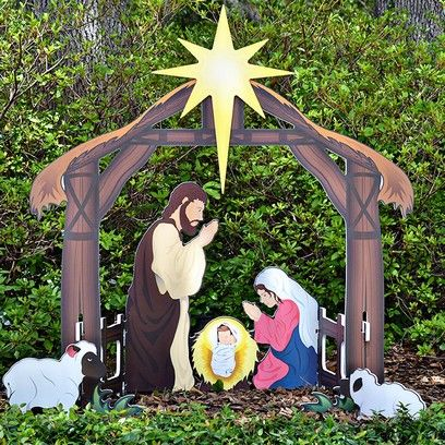 Holy Night Printed Outdoor Nativity Set With Images Outdoor